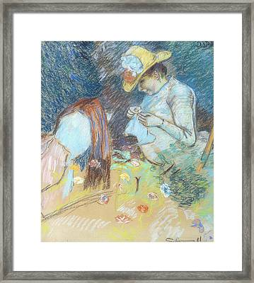 Madame Guillaumin Sewing Framed Print by Jean Baptiste Armand Guillaumin