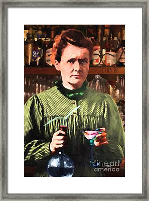 Madame Marie Curie Shaking Up A Killer Martini At The Swank Hipster Club 88 20140625 Framed Print by Wingsdomain Art and Photography