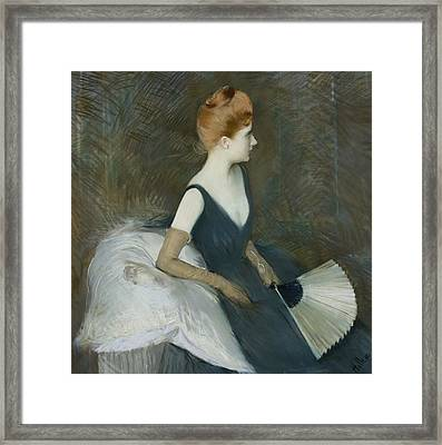 Madame Marthe Letellier Sitting On A Sofa Framed Print by Paul Cesar Helleu