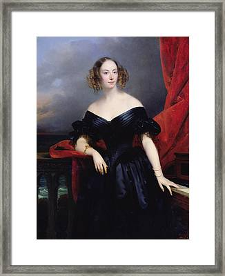 Madame Rampal, Comtesse De Grigneuseville Oil On Canvas Framed Print by Claude-Marie Dubufe