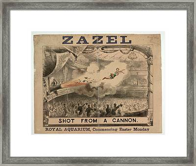 Madame Zazel Shot From A Cannon Framed Print by British Library