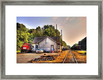 Madison Historic Rail Road Station Madison Georgia Framed Print by Reid Callaway