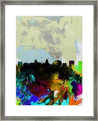 Madison Watercolor Skyline Framed Print by Naxart Studio