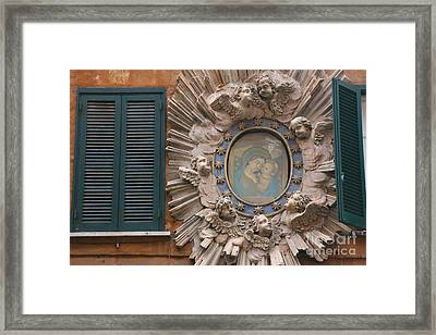 Madonna & Child Between Teal Blue Framed Print by Holly C. Freeman