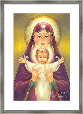 Madonna And Baby Jesus Framed Print by Zorina Baldescu