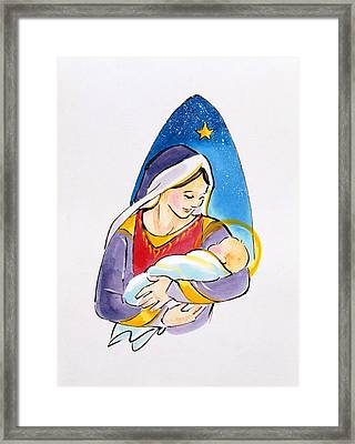 Madonna And Child Framed Print by Diane Matthes