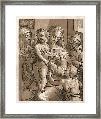 Madonna And Child Framed Print by Aged Pixel