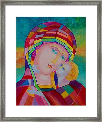 Mother Mary Nursing The Infant Jesus Orthodox Icon. Madonna With Child Painting Framed Print by Magdalena Walulik