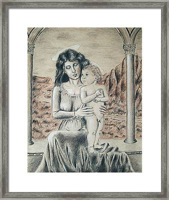 Madonna And Child Framed Print by Vincent Wolff