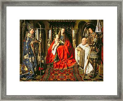 Madonna And Child With Canon Joris Van Der Paele Framed Print by Jna Van Eyck