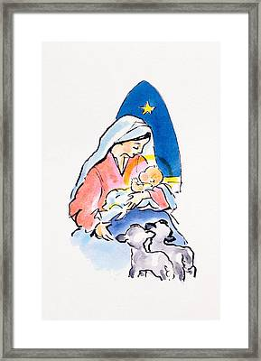 Madonna And Child With Lambs, 1996  Framed Print by Diane Matthes