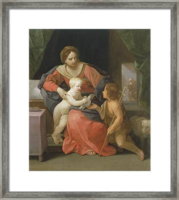 Madonna And Child With Saint John The Baptist Framed Print by Guido Reni