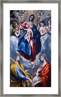 Madonna And Child With Saint Martina And Saint Agnes Framed Print by  El Greco Domenico Theotocopuli