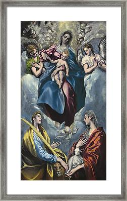 Madonna And Child With Saint Martina And Saint Agnes Framed Print by Celestial Images