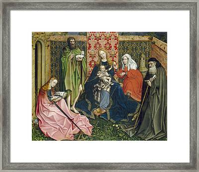 Madonna And Child With Saints In The Enclosed Garden Framed Print by Master of Flemalle