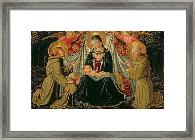 Madonna And Child With St Francis And The Donor Fra Jacopo Da Montefalco Left And St Bernardino Framed Print by Benozzo di Lese di Sandro Gozzoli