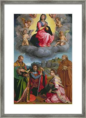 Madonna In Glory With Four Saints Framed Print by Andrea del Sarto