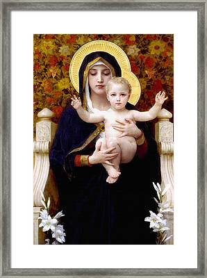 Madonna Of Lilies Framed Print by Bouguereau