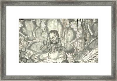 Madonna On Black And White Screen Framed Print by Genevieve Esson