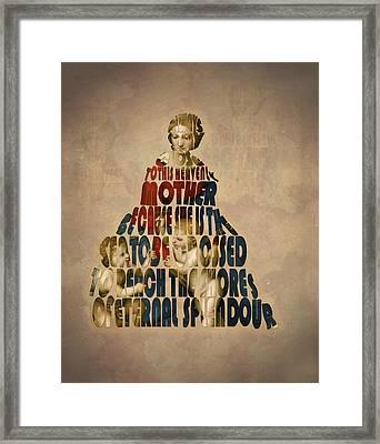Madonna Typography Artwork Framed Print by Georgeta Blanaru