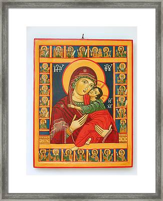 Madonna With Child Jesus Surrounded By Saints Hand Painted Wooden Orthodox Icon Framed Print by Denise Clemenco