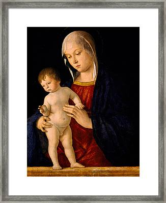 Madonna With The Child Blessing Framed Print by Giovanni Bellini
