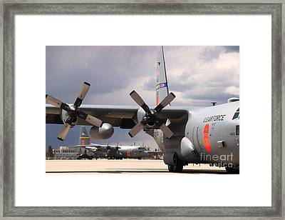 Framed Print featuring the photograph Maffs C-130s At Cheyenne by Bill Gabbert