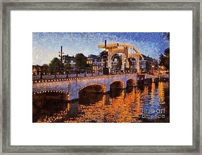 Magere Brug Bridge In Amsterdam Framed Print by George Atsametakis