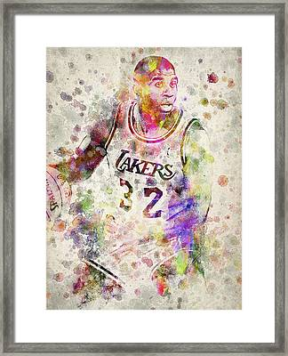 Magic Johnson Framed Print by Aged Pixel
