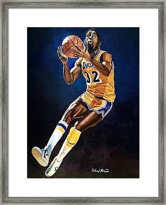 Magic Johnson - Lakers Framed Print by Michael  Pattison