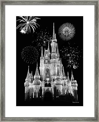 Magic Kingdom Castle In Black And White With Fireworks Walt Disney World Framed Print by Thomas Woolworth