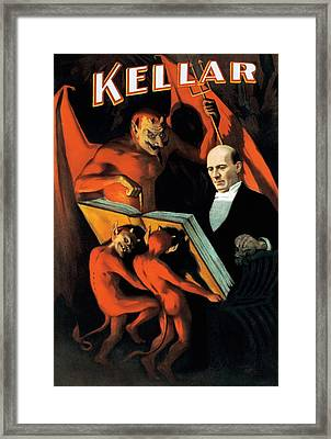 Magician Harry Kellar And Demons  Framed Print by The  Vault - Jennifer Rondinelli Reilly