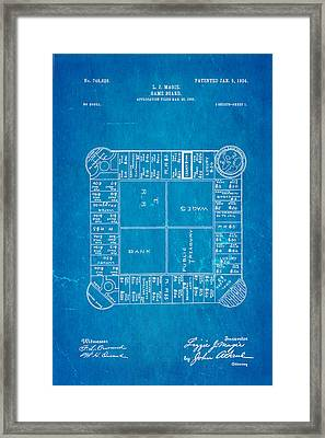 Magie Landlord's Game Patent Art 1904 Blueprint Framed Print by Ian Monk