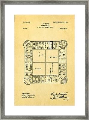 Magie Landlord's Game Patent Art 1904 Framed Print by Ian Monk
