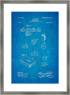 Magie Landlord's Game Patent Art 2 1904 Blueprint Framed Print by Ian Monk