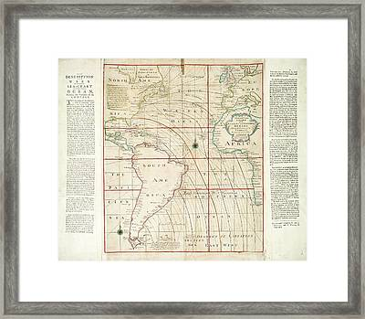 Magnetic Chart Of The Atlantic Framed Print by Stephen A. Schwarzman Building/the Lionel Pincus And Princess Firyal Map Division/new York Public Library