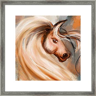 Magnificence- Colorful Horse- White And Brown Paintings Framed Print by Lourry Legarde