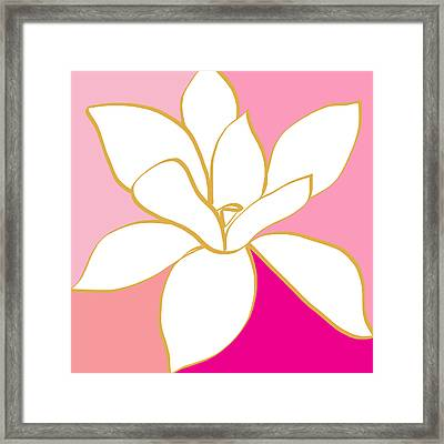 Magnolia 1- Colorful Painting Framed Print by Linda Woods