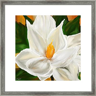 Magnolia's Elegance- Magnolia Paintings Framed Print by Lourry Legarde
