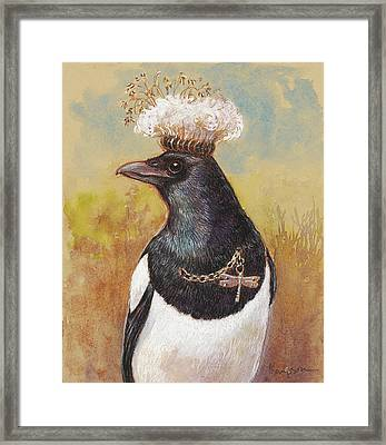 Magpie In A Milkweed Crown Framed Print by Tracie Thompson