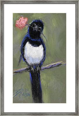 Magpie Love Framed Print by Billie Colson