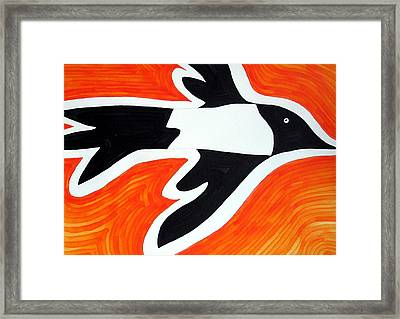 Magpie Original Painting Sold Framed Print by Sol Luckman