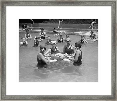 Mah-jong In The Pool Framed Print by Underwood Archives