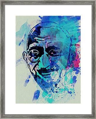 Mahatma Gandhi Watercolor Framed Print by Naxart Studio