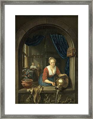 Maid At The Window Framed Print by Gerrit Dou