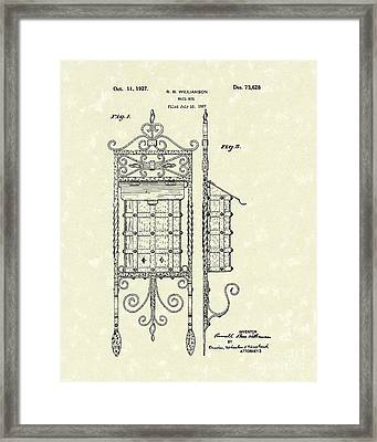 Mail Box 1927 Patent Art Framed Print by Prior Art Design