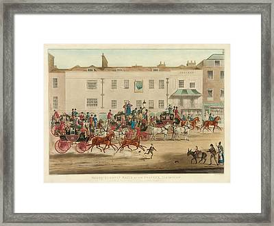 Mail Coaches In England Framed Print by Library Of Congress