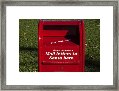 Mail Letters To Santa Here Framed Print by Garry Gay