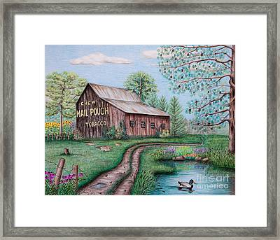 Mail Pouch Tobacco Barn Framed Print by Lena Auxier