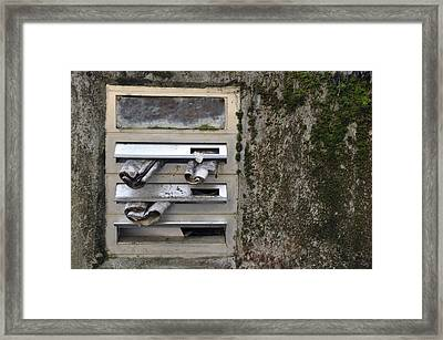 Mailbox With Old Newspapers Framed Print by Matthias Hauser